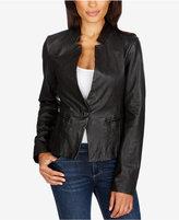 Lucky Brand Leather Single-Button Blazer