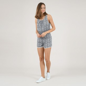 Molly Bracken Floral Print Playsuit with Embroidered Hem and Shirred Waist