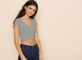 Garage Striped V-Neck Cropped Tee