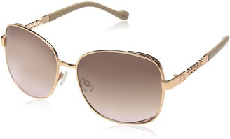 Jessica Simpson Womens J5512 Large Vented Square Metal Sunglasses with Chain Detailed Temple & 100% UV Protection 65 mm