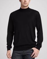 Neiman Marcus Silk/Cashmere Mock-Neck Sweater
