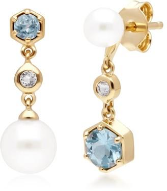 Gemondo Modern Pearl, White & Blue Topaz Mismatched Drop Earrings