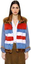 Simonetta Ravizza Reversible Striped Mink & Denim Jacket