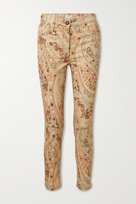 Etro Paisley-print High-rise Skinny Jeans - Beige