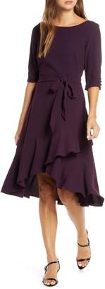 Maison Tara Ruffle Hem High/Low Crepe Dress