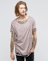 Asos Super Longline T-Shirt With Print And Heavy Distressing In Rust