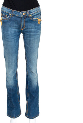 Roberto Cavalli Indigo Medium Washed Denim Snake Metal Detail Jeans S