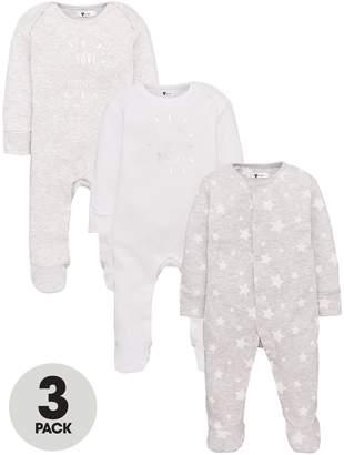 Very Baby Unisex Star I Love My Mummy & Daddy 3 Pack Sleepsuits - Multi
