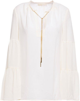 MICHAEL Michael Kors Chain-embellished Stretch-crepe Blouse