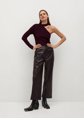 MANGO Asymmetric knit sweater plum - S - Women
