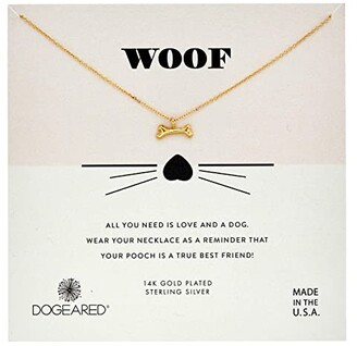 Dogeared Woof, Dog Bone Pendent Necklace (Gold) Necklace