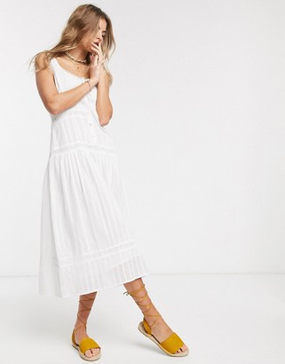 Asos DESIGN sleeveless lace insert midi dress with dropped waist in white