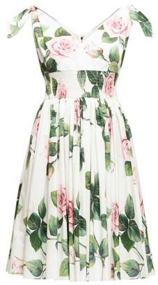 Dolce & Gabbana Shirred Floral-print Cotton-poplin Dress - Womens - White Multi