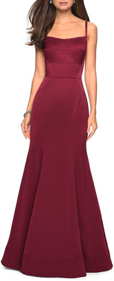 La Femme Square-Neck Sleeveless Mermaid Gown