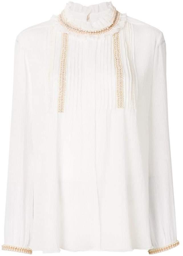 Chloé ruffle neck longline blouse