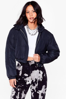 Nasty Gal Womens Turn Up the Volume Cropped Padded Jacket - Black