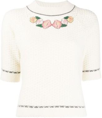 Vilshenko Floral-Embroidery Knit Jumper