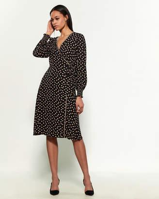 Max Studio Long Sleeve Smocked Cuff Printed Wrap Dress