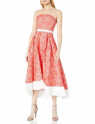 JS Boutique Women's Strapless Lace Brocade W/Hi Lo Solid Contrast Banded Hem