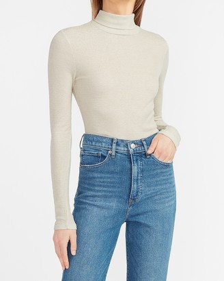 Express Metallic Mock Neck Long Sleeve Tee