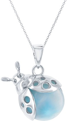 Sterling Silver Larimar Lady Bug Pendant Necklace