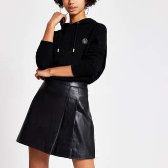 River Island Womens Black leather pleated kilt mini skirt