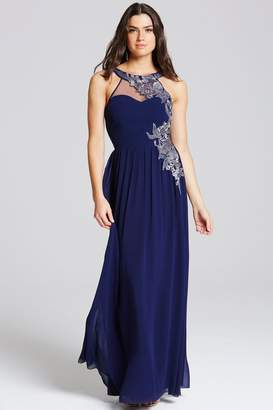 Little Mistress Navy Embroidery Applique Maxi Dress