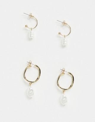 Pieces Miradie Pearl Drop Earring Set-Gold