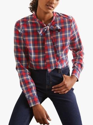 Boden Susannah Check Print Bow Neck Shirt, Multi