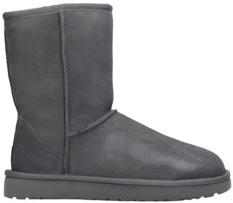 UGG Classic Short Low Heels Ankle Boots In Grey Suede