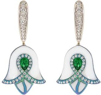 SABOO FINE JEWELS 18kt White Gold Emerald Diamond Bell-Shaped Drop Earrings