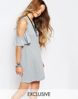 Glamorous Cold Shoulder Dress With Ruffle Detail