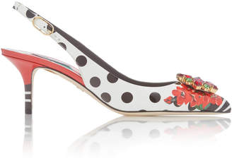 Dolce & Gabbana Crystal-Embellished Polka-Dot Leather Slingbacks