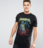 Asos Tall Metallica Longline Band T-shirt With Justice For All Faded Print