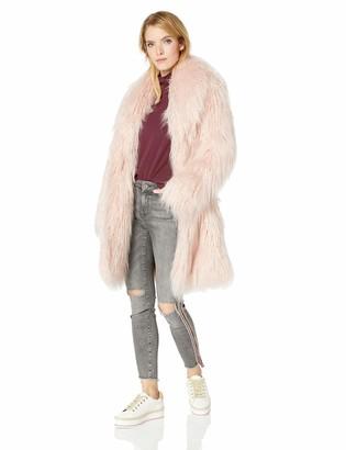 GUESS Women's Long Sleeve Serenity Faux Fur Coat
