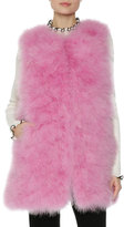 MSGM Long Feather Vest, Pink