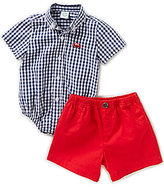 Little Me Baby Boys 3-12 Months Checked Bodysuit & Solid Shorts Set