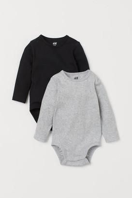 H&M 2-pack Long-sleeved Bodysuits - Black