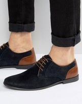 Asos Lace Up Shoes In Navy Suede