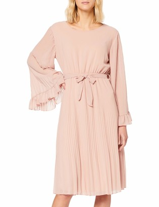 Yumi Women's Fluted Sleeve Pleated Midi Dress Casual
