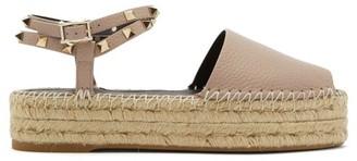 Valentino Rockstud Leather Flatform Espadrille Sandals - Nude