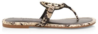 Tory Burch Miller Metal Snakeskin-Embossed Leather Thong Sandals