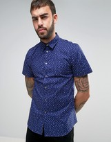 Paul Smith Short Sleeve Shirt Cactus Print Tailored Regular Fit in Navy
