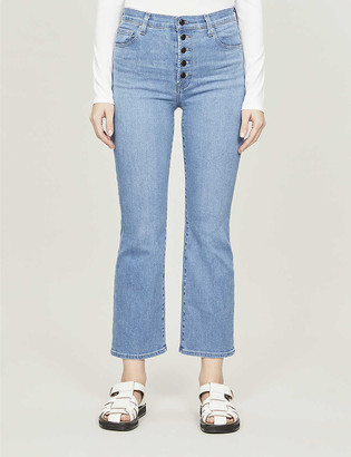 J Brand Lillie cropped straight mid-rise stretch-denim jeans