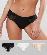 Asos 3 Pack Microfibre & Lace French Knicker