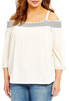 Jessica Simpson Plus Marlena Cold-Shoulder 3/4 Sleeve Top