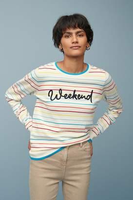 Next Womens Pink Weekend Slogan Jumper - White