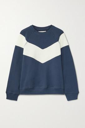 The Great The Sherpa Fleece-trimmed Cotton-jersey Sweatshirt - Navy