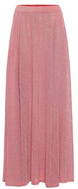 Metallic knit maxi skirt