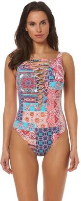 Bleu Rod Beattie Bleu | Rod Beattie Women's Knotty But Nice Lace Down Mio One-Piece Swimsuit